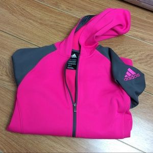 Adidas Pink Gray Front Zip Up Hoodie Youth Size XL
